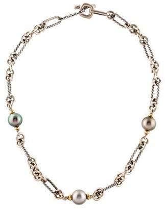 David Yurman Pearl Cable Choker Necklace silver Pearl Cable Choker Necklace