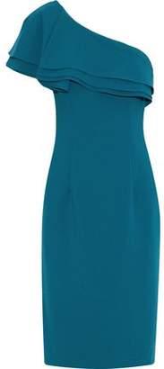 Black Halo Eve By Laurel Berman One-Shoulder Ruffled Cady Dress