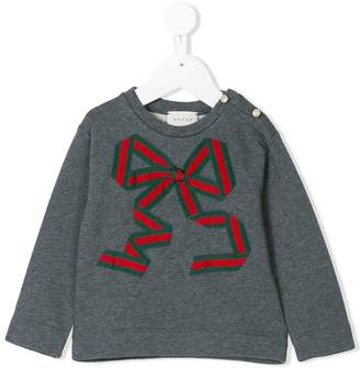 Gucci Kids web bow sweater