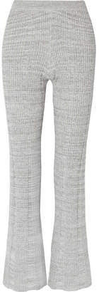 Elizabeth and James Joan Ribbed Cotton-blend Flared Pants - Gray