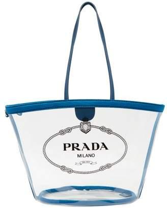 Prada Logo Print Plexi Tote - Womens - Blue