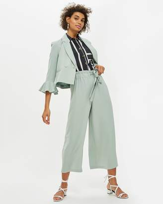 Topshop Tie Side Cropped Wide Leg Trousers