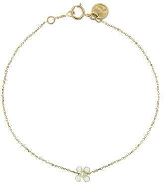 Sweet Pea Pearl and Diamond Flower Bracelet - Yellow Gold