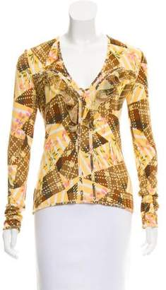 John Galliano Patterned V-Neck Sweater