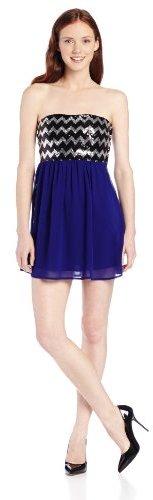 My Michelle Juniors Strapless Sequin Chevron Top Dress