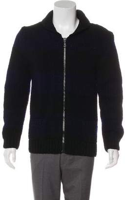 Band Of Outsiders Chunky Striped Wool Zip-Up Cardigan