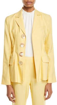 REJINA PYO Etta Linen Notch-Collar Peplum Jacket