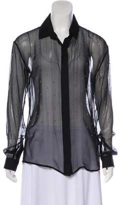 Anthony Vaccarello Silk Embellished Top