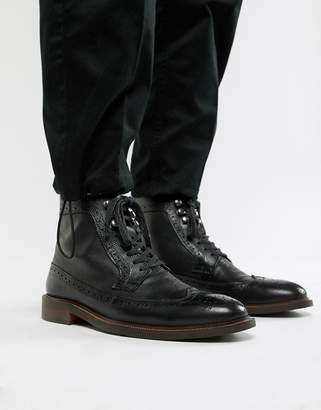 Dune Lace Up Brogue Boots In Black