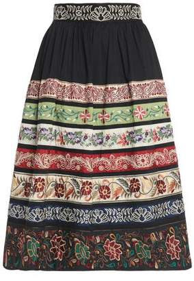 Alice + Olivia Cotton-Blend Poplin Midi Skirt