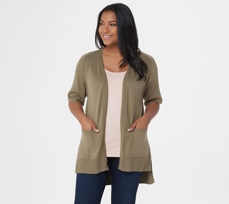 Halston H By H by Open Front Raglan Short-Sleeve Hi-Low Cardigan