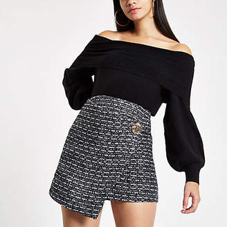 River Island Navy boucle wrap front skirt