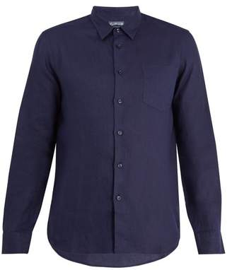 Vilebrequin Caroubis Point Collar Linen Shirt - Mens - Navy