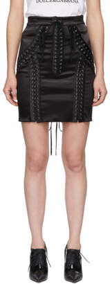 Dolce & Gabbana Black Silk Lace-Up Miniskirt