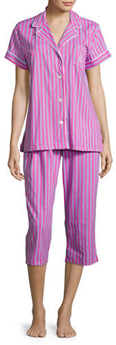 Lauren Ralph Lauren Lauren Ralph Lauren Button-Front Top and Cropped Pants Pajama Set
