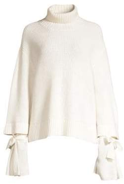 Mother of Pearl Chunky Wool Knit Ribbed Turtleneck