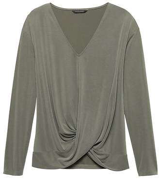 Banana Republic Petite Sandwash Modal Blend Twist-Front Top