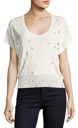 T by Alexander Wang Short-Sleeve U-Neck Distressed Sweater, White $350 thestylecure.com