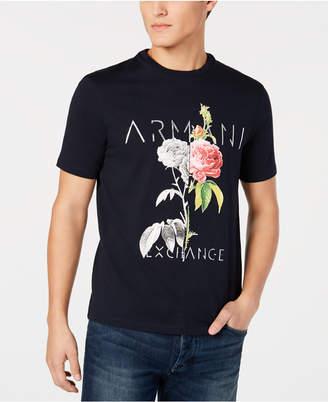 Armani Exchange Men Floral Logo Print T-Shirt