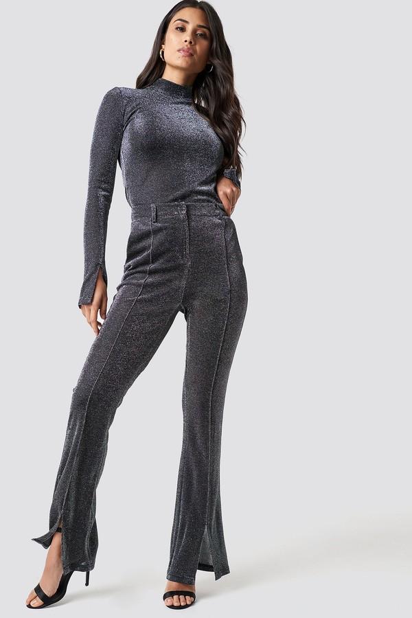 Dilara X NA-KD Sparkly Flared Pants Black