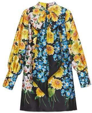 Gucci (グッチ) - フロラージュ プリント サテン プリーツスカート