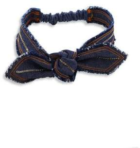 Colette Malouf Colette Malouf Knotted Crystal-Trimmed Denim Headband