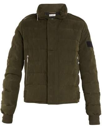 Saint Laurent High Neck Quilted Cotton Blend Jacket - Womens - Khaki