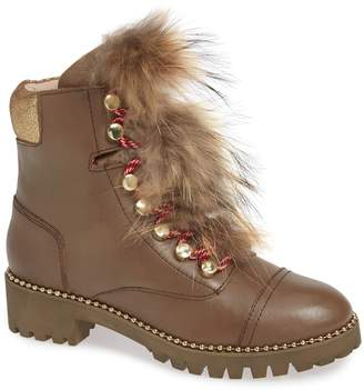 Cecelia New York Trekker Genuine Fox Fur Trim Boot