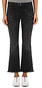Stella McCartney WOMEN'S FRAYED-STAR CROP FLARED JEANS-BLACK SIZE 29
