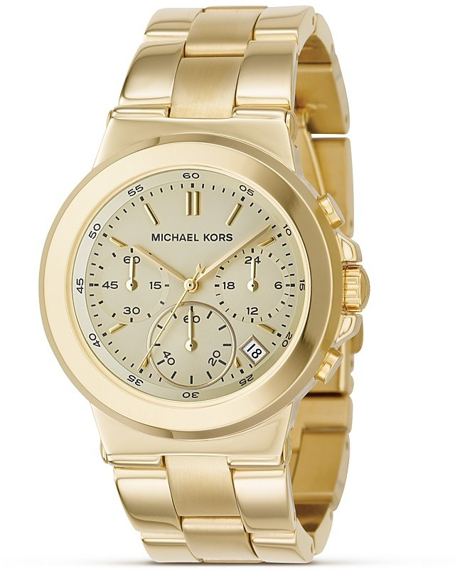 MICHAEL Michael Kors Stainless Steel Gold Plated Chronograph Watch with Bracelet Strap, 38 mm