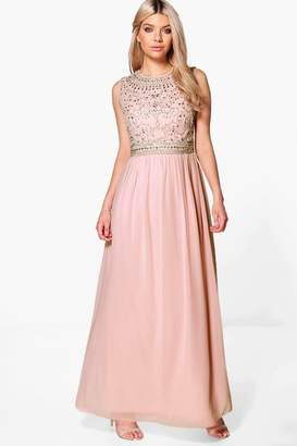 boohoo Boutique Embellished Chiffon Maxi Dress