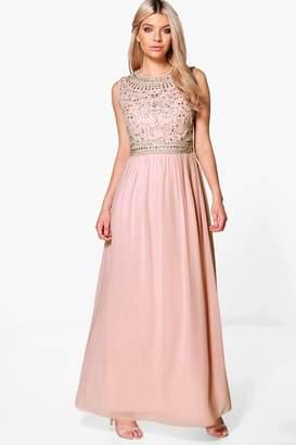 boohoo Boutique Embellished Chiffon Maxi Dress