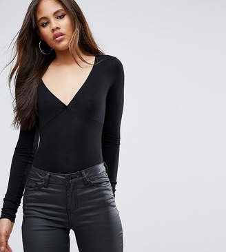 Asos Tall TALL Body With Plunge Neck Long Sleeve and Thong