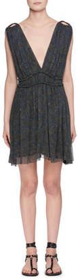 Etoile Isabel Marant Estelle Plunging-Neck Sleeveless Printed Silk Dress