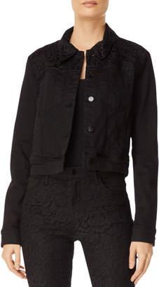 J Brand Harlow Cropped Denim Jacket w/ Lace