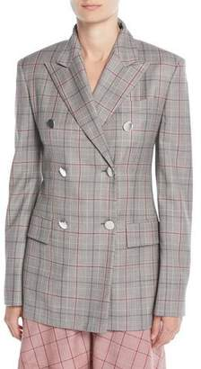 Calvin Klein Double-Breasted Metal-Buttons Wool Blazer