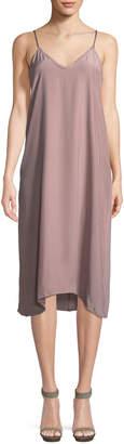ATM Anthony Thomas Melillo V-Neck Silk Charmeuse Midi Slip Dress
