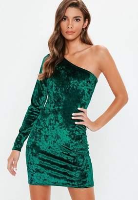 Missguided Green Crushed Velvet One Shoulder Bodycon Dress