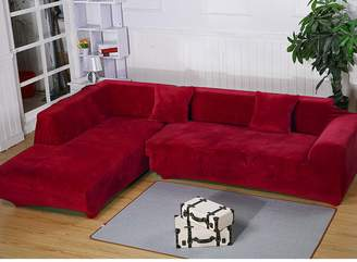 Getmorebeauty L Shape Sectional Thick Plush Velvet Couch Stretch Sofa Cover