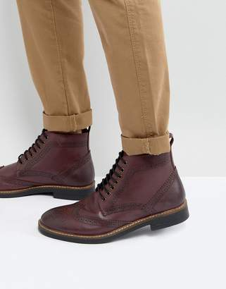 Frank Wright Brogue Boots Burgundy Leather