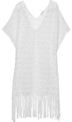 Eberjey Fringed Crocheted Cotton Coverup