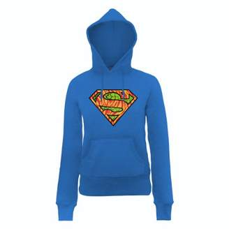 DC Comics Women's Official Superman Wild Logo Long Sleeve Hoodie,(Manufacturer Size:X-Large)