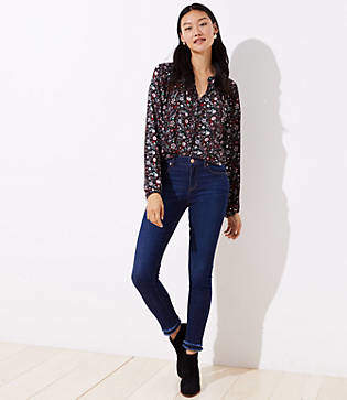 LOFT Modern Double Frayed Skinny Jeans in Dark Indigo Wash