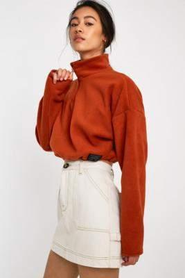 Urban Outfitters Half-Zip Fleece Track Top - brown S at