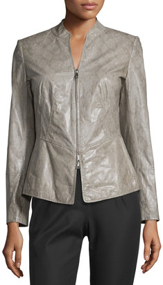Lafayette 148 New York Maci Snake-Print Leather Jacket, Castle Multi $725 thestylecure.com