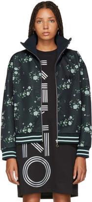 Kenzo Navy Floral Blouson Zip-Up Jacket