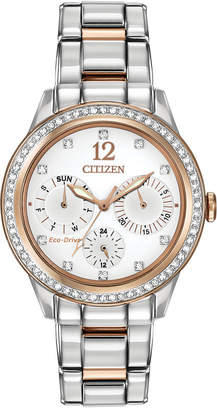 Citizen Women Chronograph Eco-Drive Silhouette Crystal Two-Tone Stainless Steel Bracelet Watch 37mm FD2016-51A