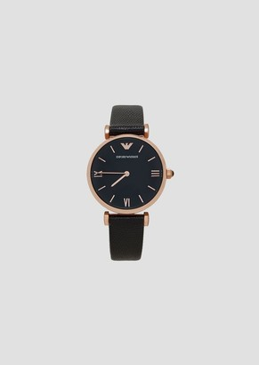 Emporio Armani Quartz Watch In Steel And Leather