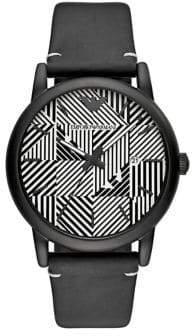 Emporio Armani Luigi Black Leather Strap Watch