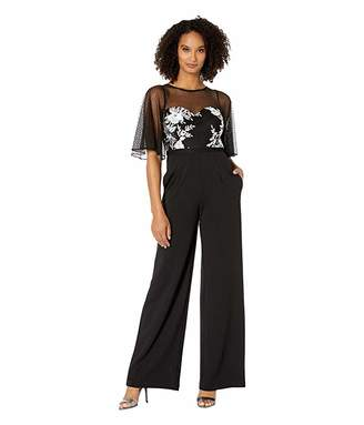 Adrianna Papell Embroidered Point D'Esprit Crepe Jumpsuit